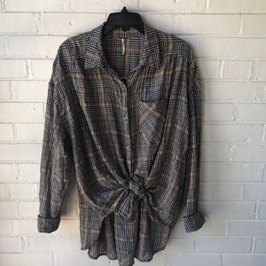 Free People crepe button down